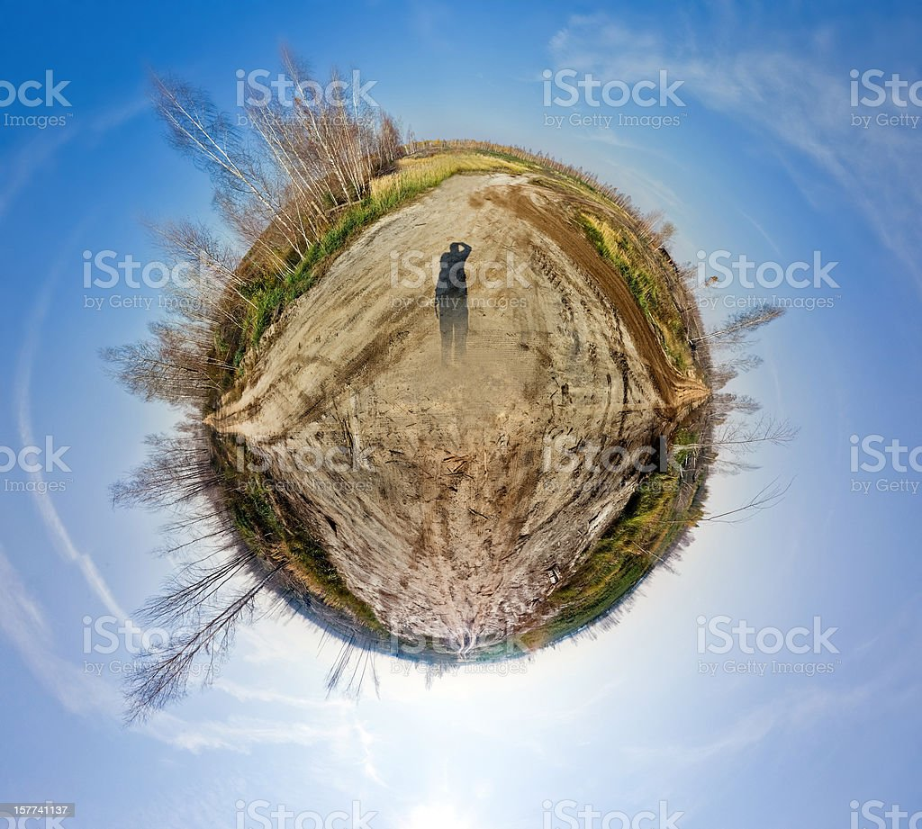Planet of crossroad. Spherical panorama stock photo