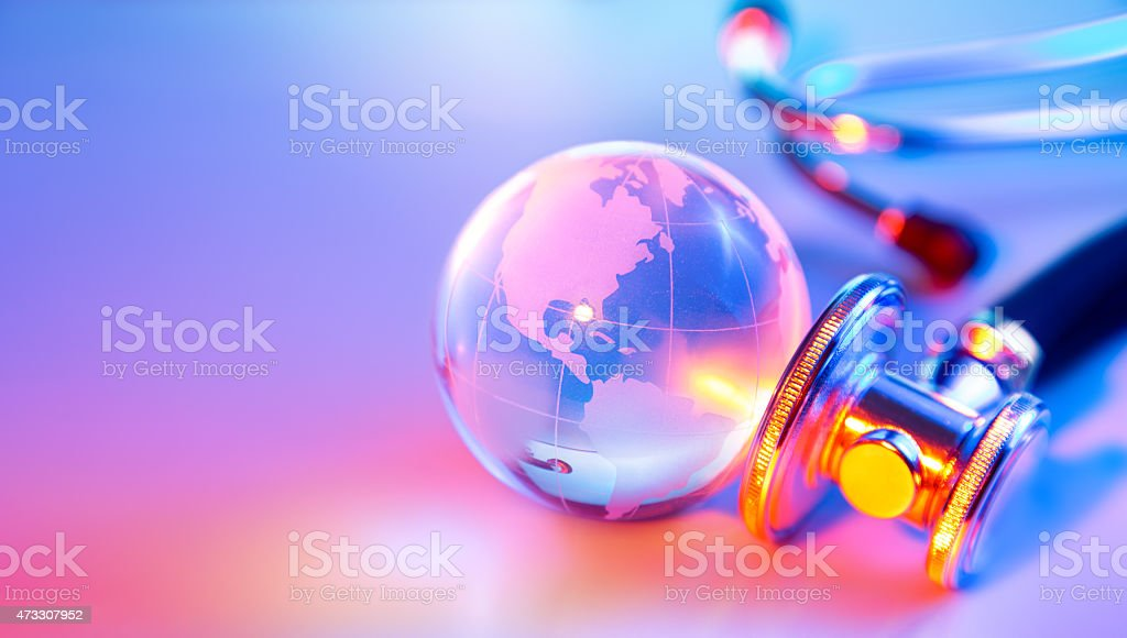 planet sink - listening crystal planet stock photo