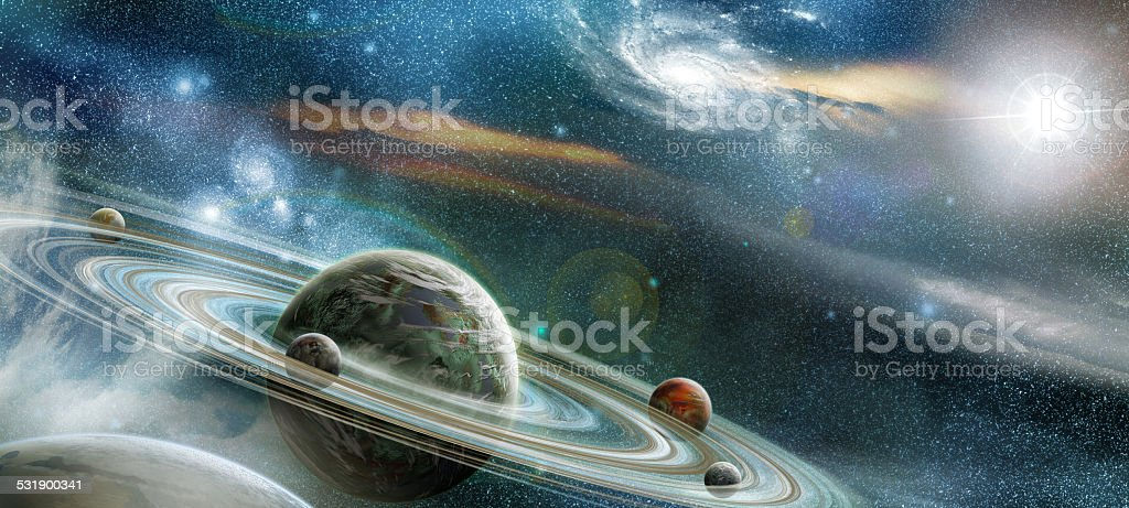 Planet with numerous prominent ring system stock photo
