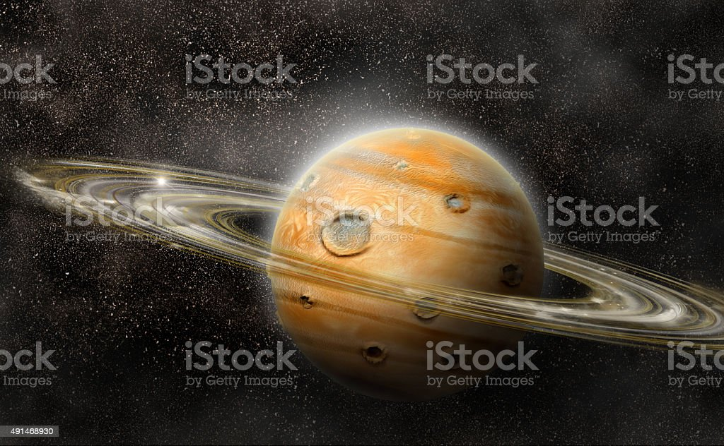 Planet with rings system stock photo
