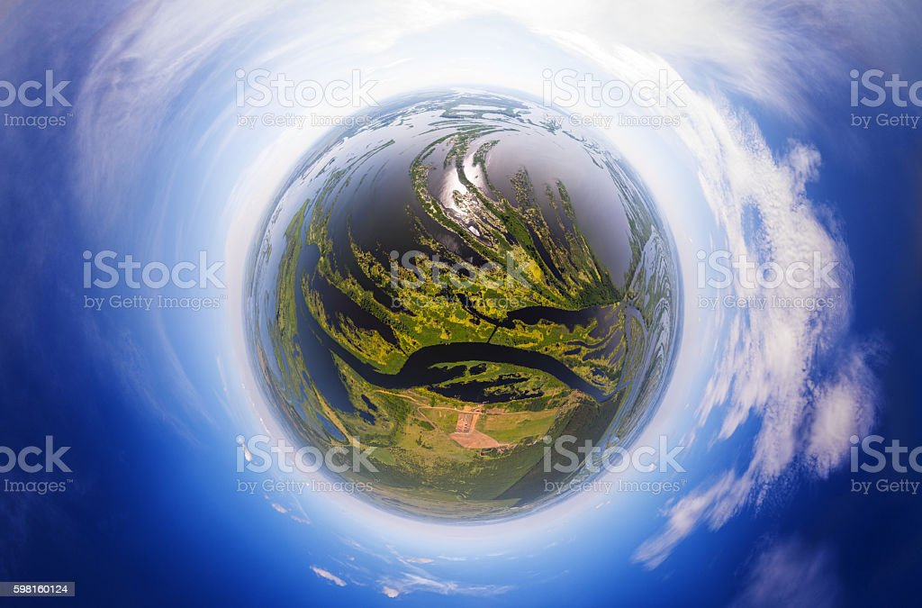 Planet with rivers stock photo