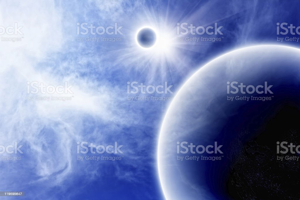 Planet with satellite in blue space royalty-free stock photo