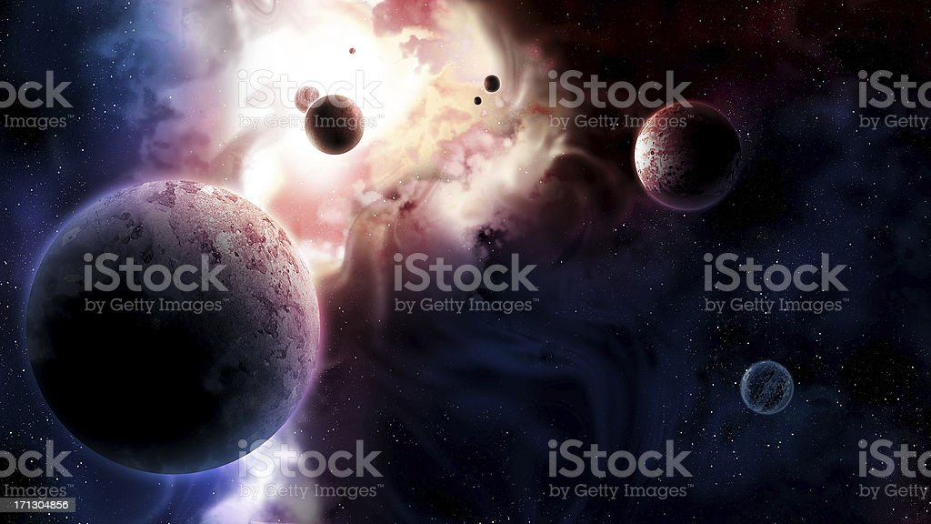 Planetarium over the Glowing Galaxy in Deep Space stock photo