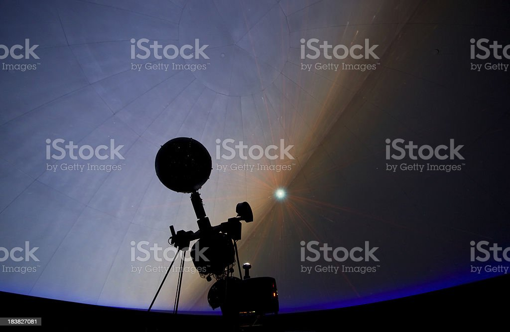 Planetarium Projector and Dome with Galaxy stock photo