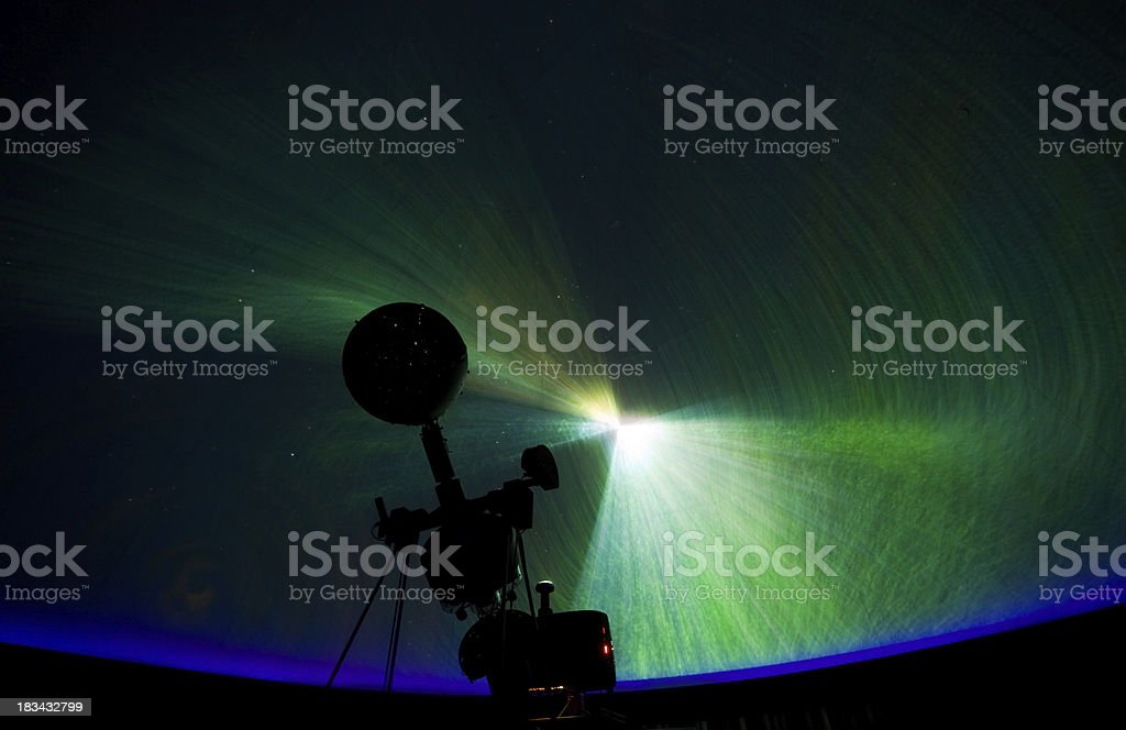 Planetarium Projector and Dome with Universe stock photo