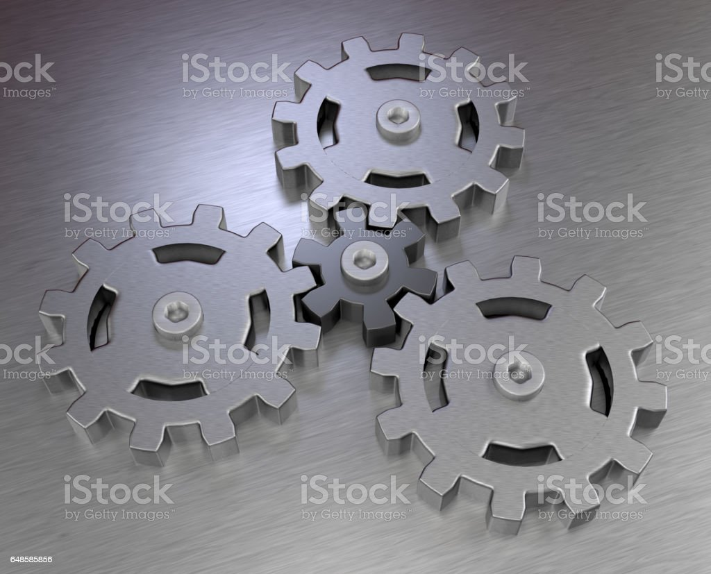 planetary gear stainless steel, teamwork concept and business ideas strategy metal symbol 3D illustration vector art illustration