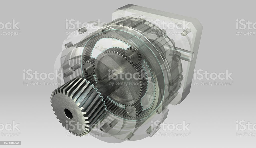 Planetary gearbox transmission cross section and semi transparent casing stock photo