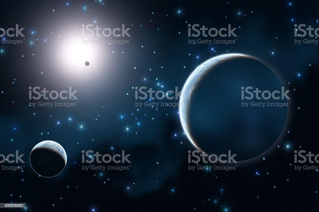 Planets and Stars in the Milky Way stock photo