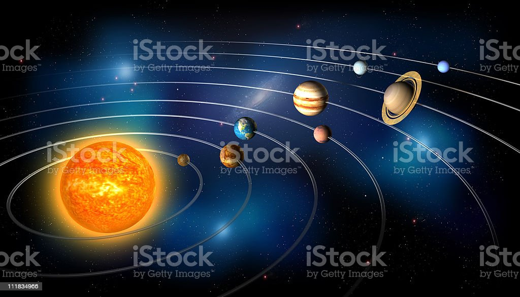 Planets of the Solar System in Orbit stock photo
