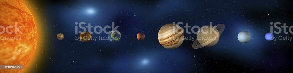 Planets of the Solar System Panorama stock photo