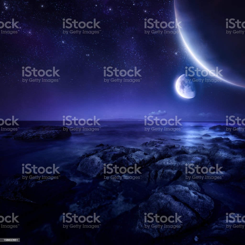 Planets over sea royalty-free stock photo
