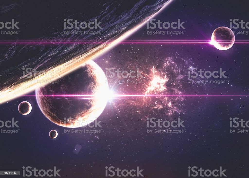 Planets over the nebulae in space vector art illustration