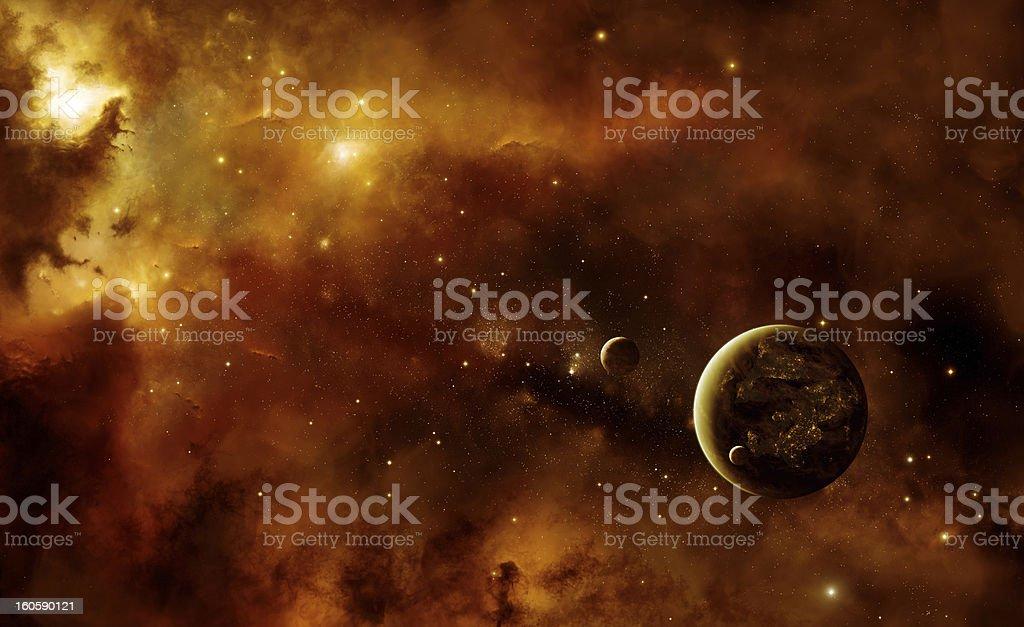 Planets with nebula royalty-free stock photo