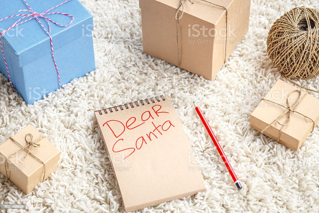 Planing gifts for Christmas - letter to Santa Claus stock photo
