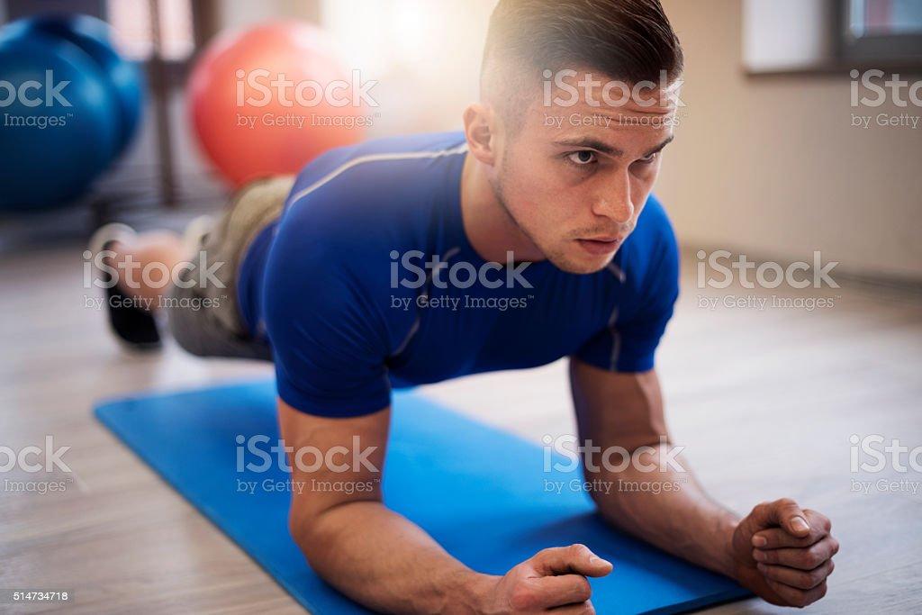 Plank as good abdomen exercise stock photo