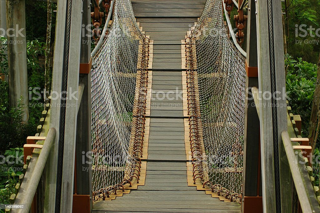 Plank bridge with safety net royalty-free stock photo