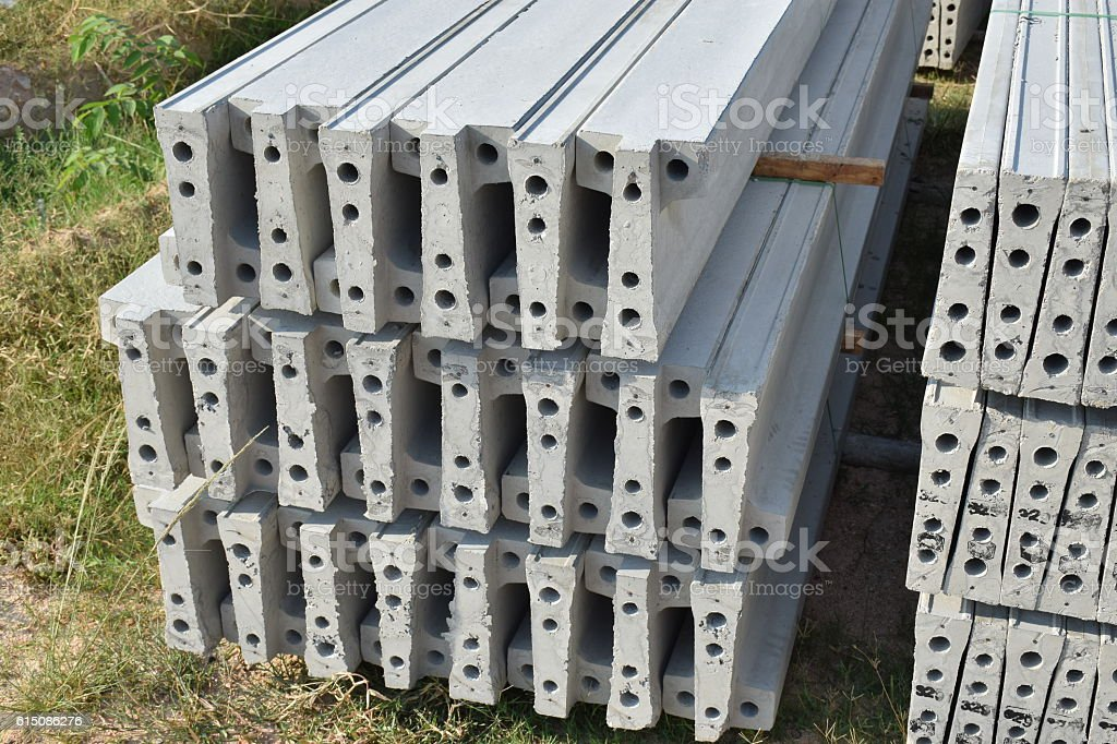 Plank concrete stacking in yard stock photo