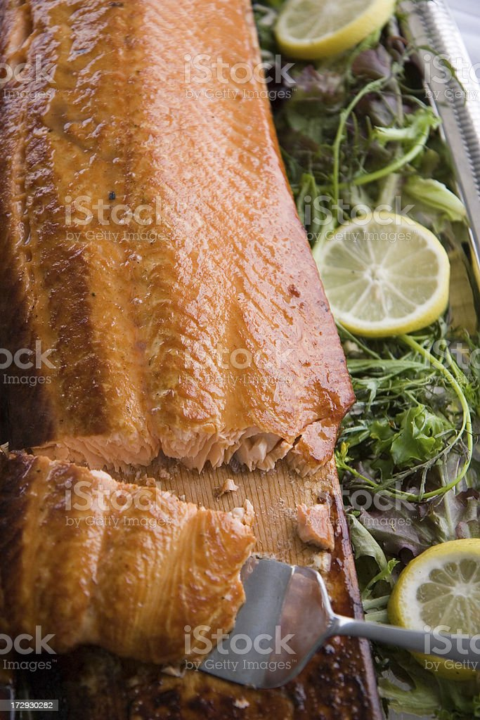 Planked Salmon royalty-free stock photo