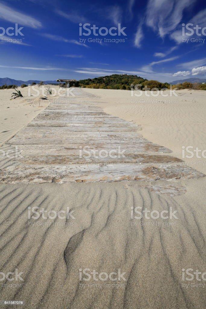 Planking foothpath on the sand. Patara beach-Lycia-Turkey. 1394 stock photo
