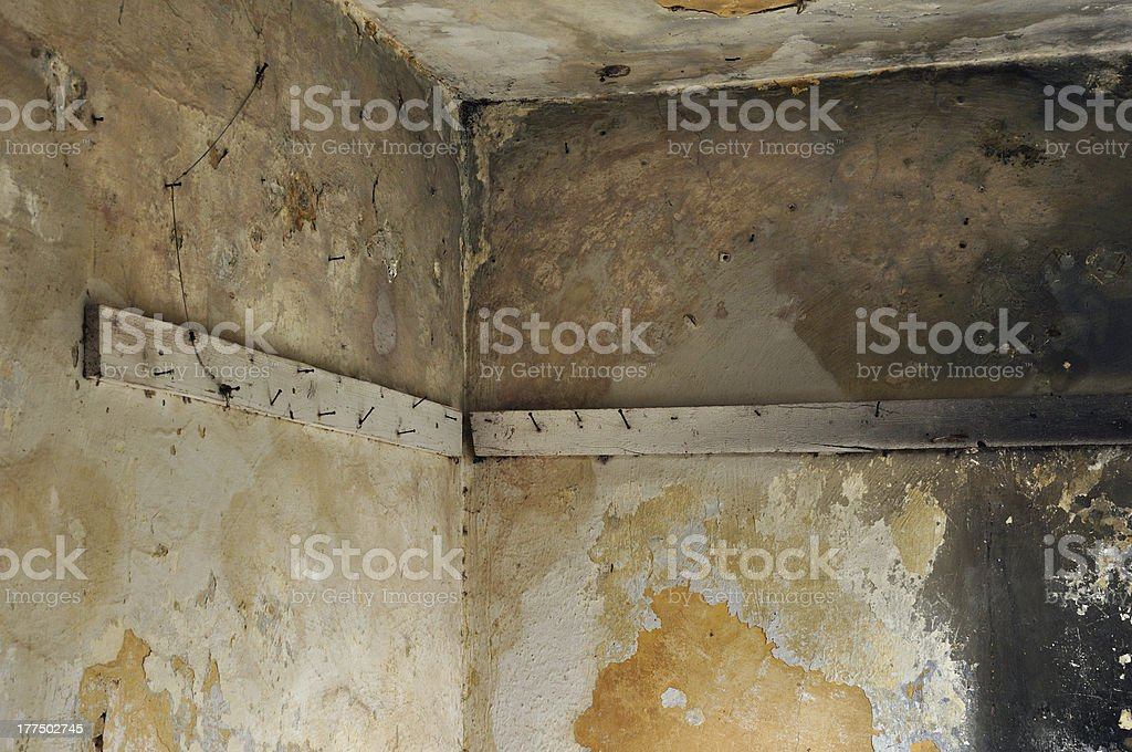 planks with rusty nails in abandoned interior royalty-free stock photo