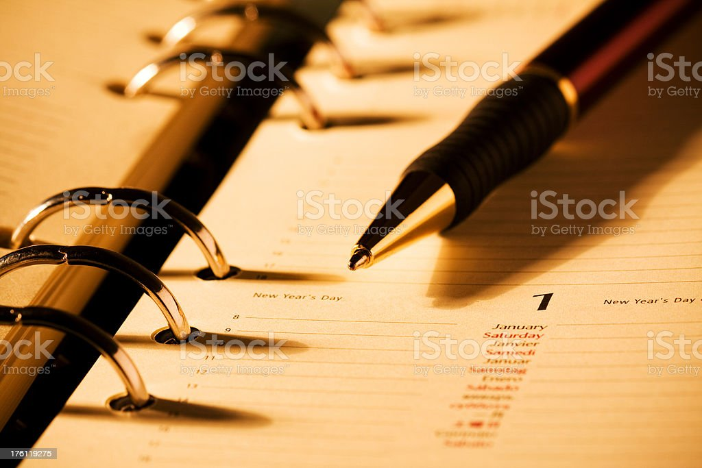 Planner and Pen stock photo