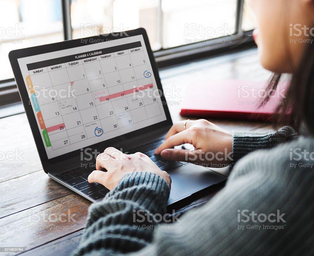Planner Organizer Date Events Schedule Concept stock photo