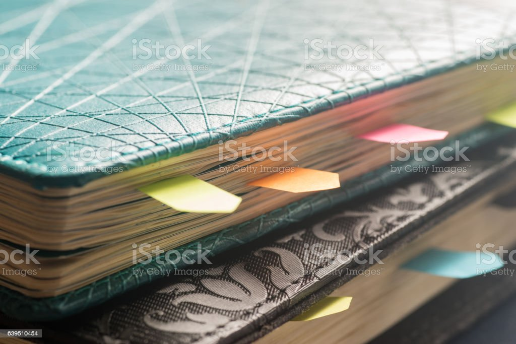 planner with stickers stock photo