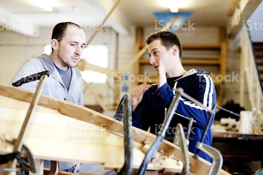 Planning a boat build stock photo