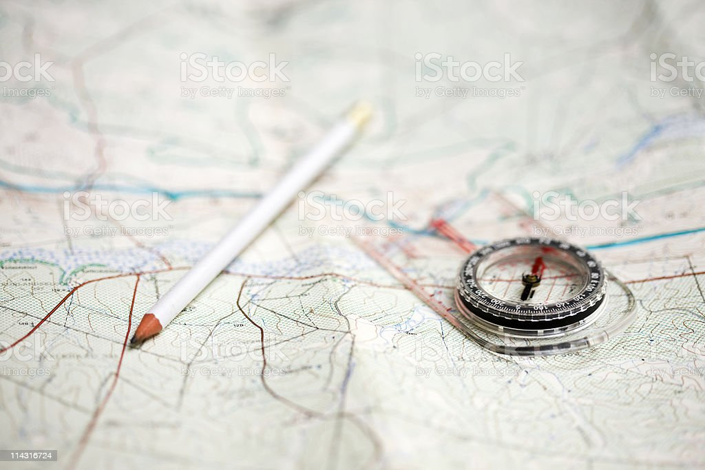 Planning a hike royalty-free stock photo
