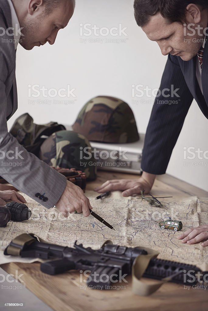 Planning a hostile take-over stock photo
