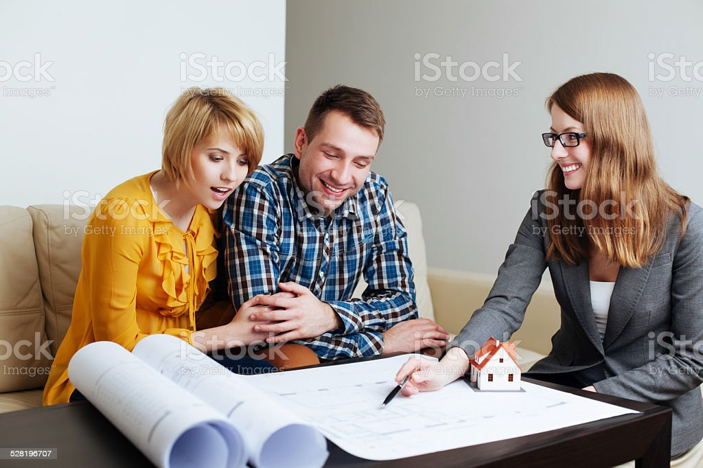 Planning a perfect house together stock photo