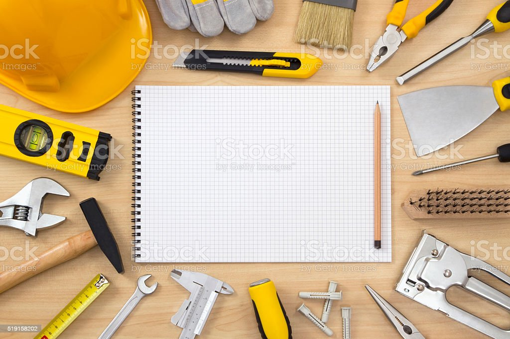 Planning a Project in Carpentry and Woodwork Industry stock photo