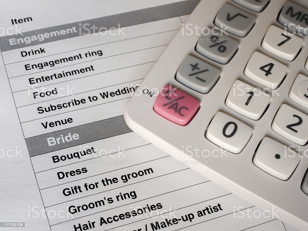 Planning a wedding and finances stock photo