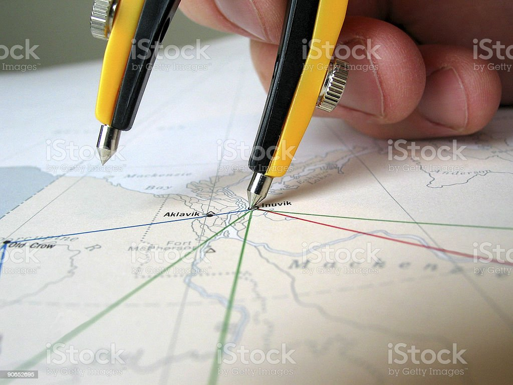 Planning an air route stock photo