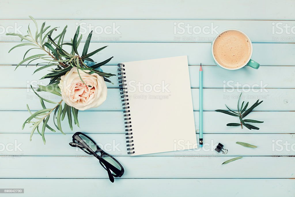 Planning and design concept. Cozy breakfast. Flat lay styling. stock photo