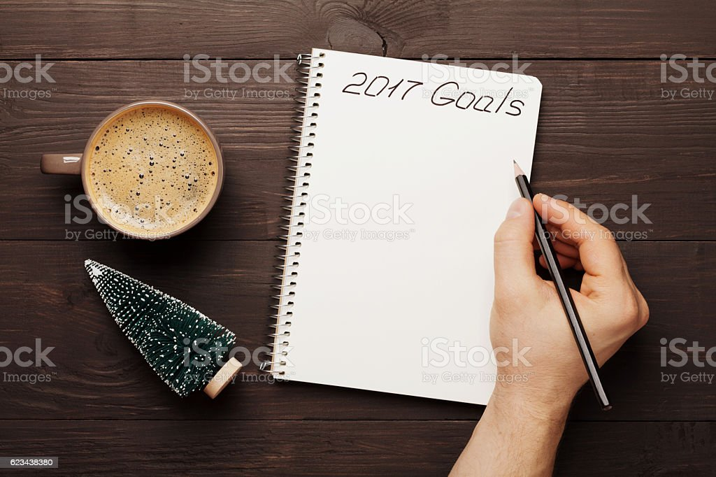 Planning and motivation for the 2017 new year concept. stock photo