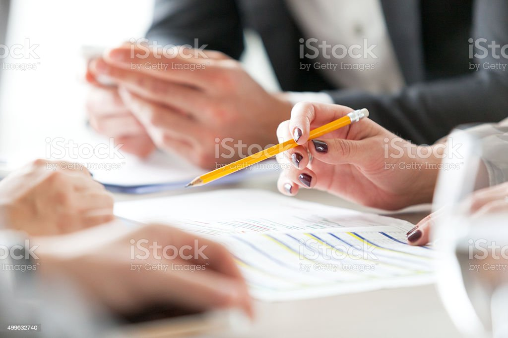 Planning at meeting stock photo