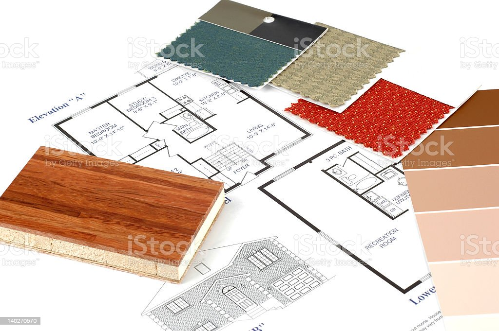 Planning for interior decoration with wood and colored cloth royalty-free stock photo