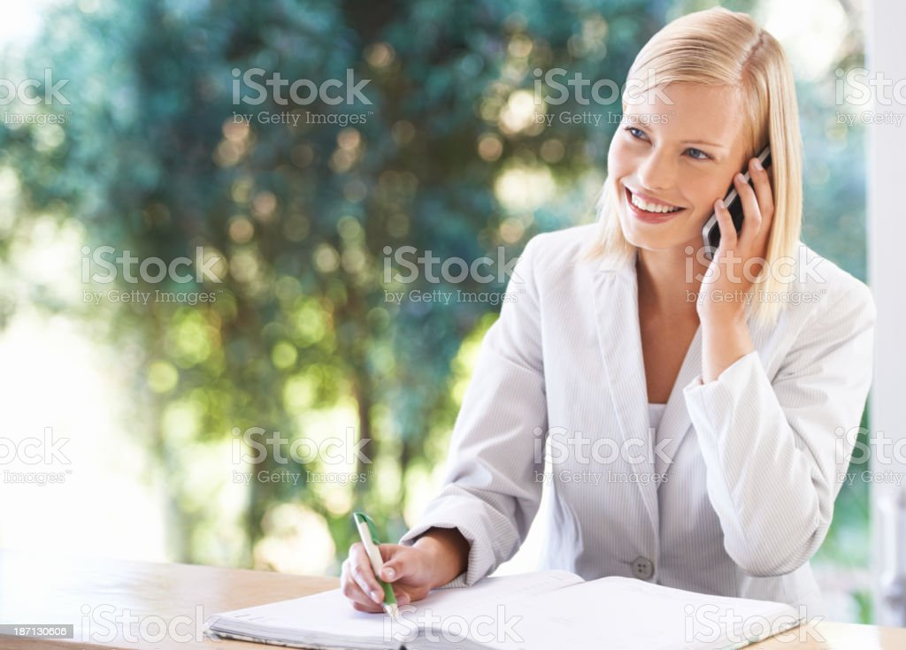 Planning her day stock photo