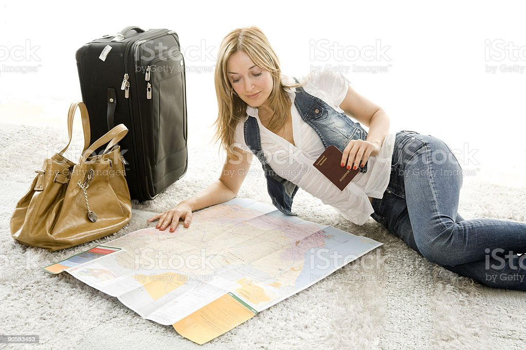 planning her trip royalty-free stock photo