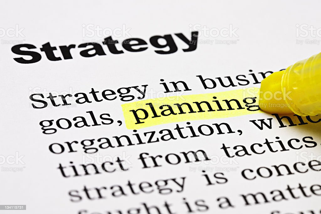 'Planning' is highlighted beneath the heading 'Strategy' stock photo