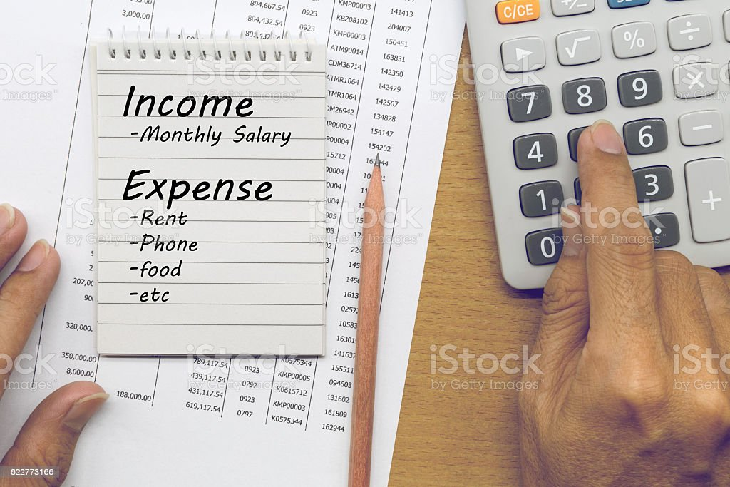 Planning monthly income and account expenses, Finance concept