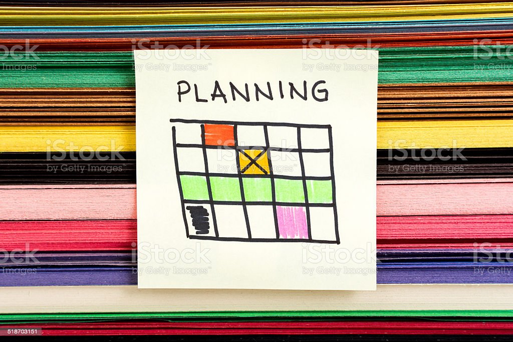 Planning note timetable calendar sketch on multicolor background stock photo