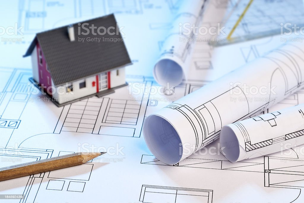 Planning of a single family house stock photo