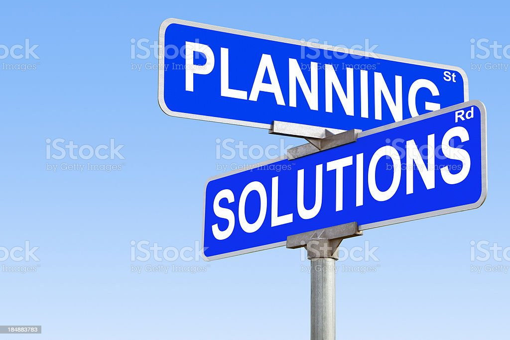 Planning Solutions Street Sign royalty-free stock photo