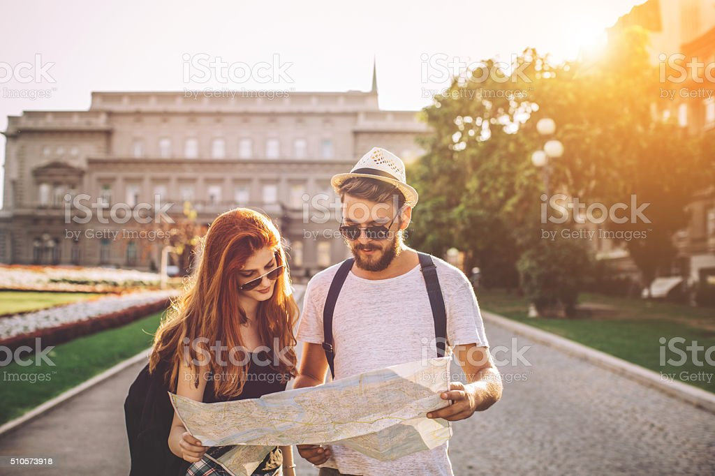 Planning the best way to get there stock photo