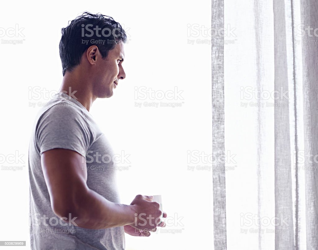 Planning the day starts with coffee! stock photo