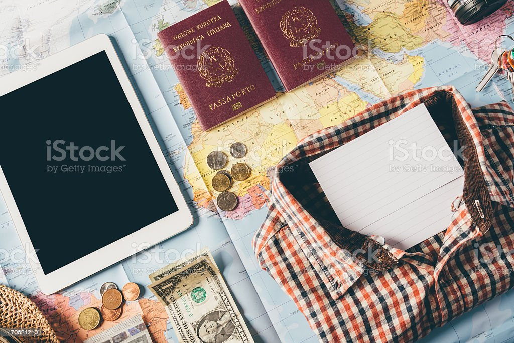 Planning the next trip with clothes stock photo