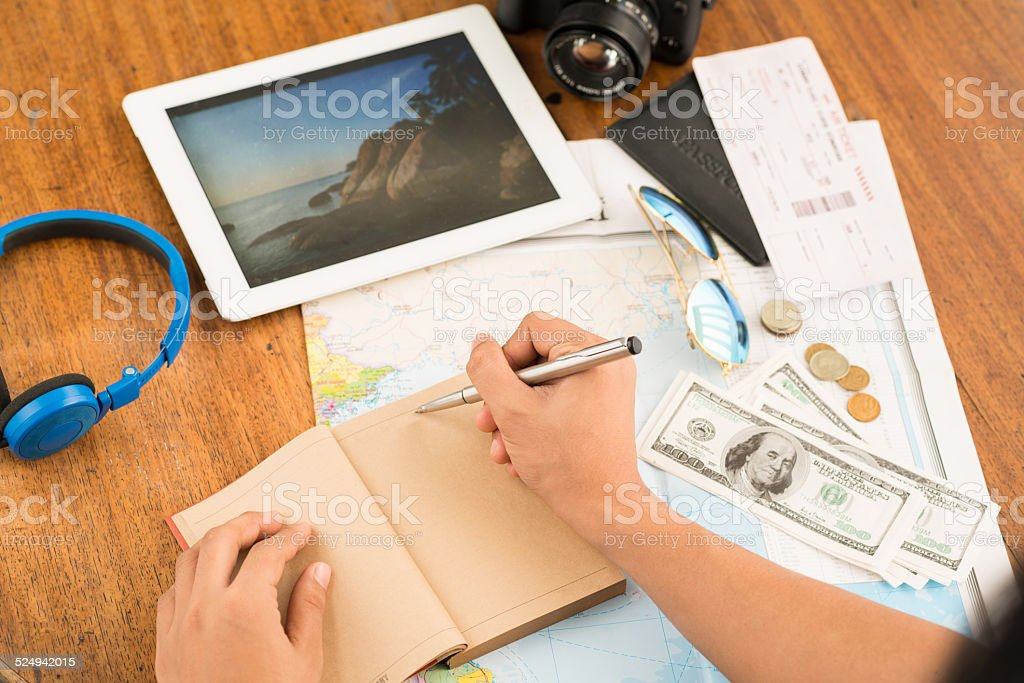 Planning vacations stock photo