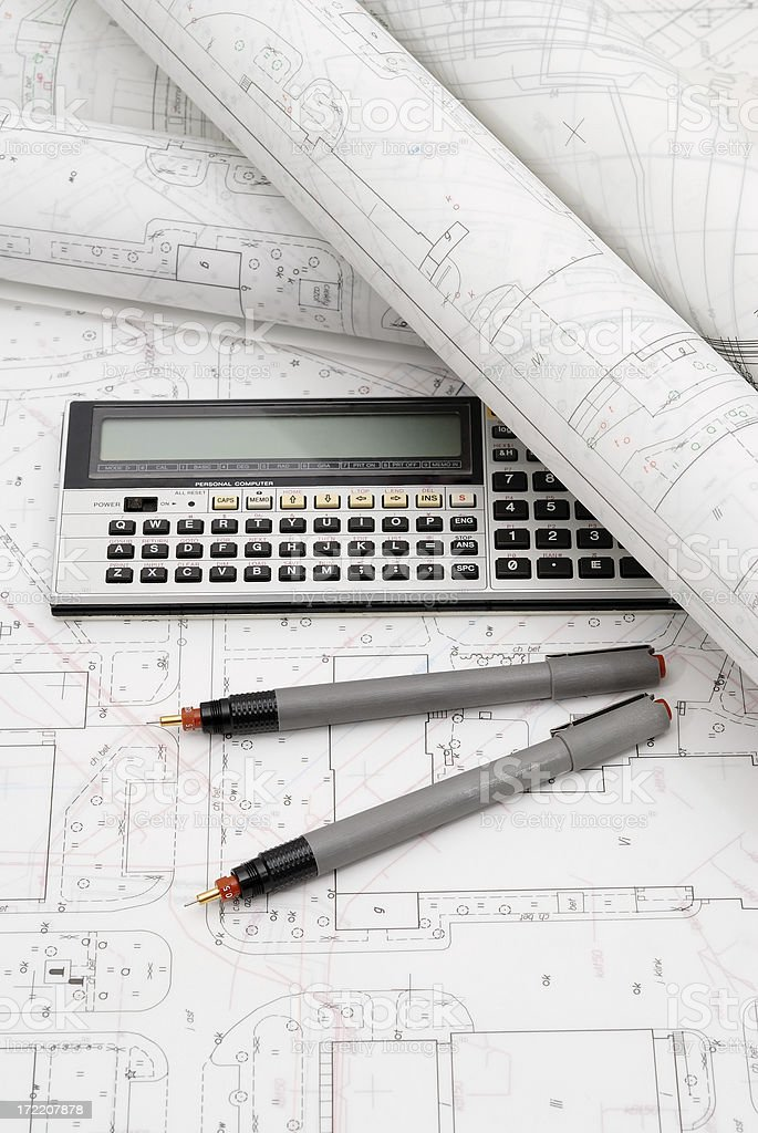 Plans and drawing instruments on the table royalty-free stock photo